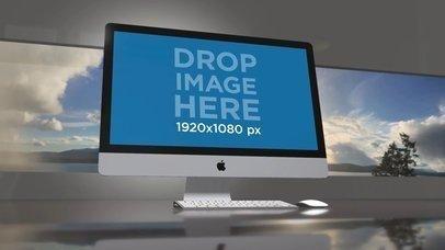 iMac Video Standing on a Desk Against a Landscape Background a15825
