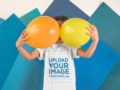 Little Kid with Balloons on his Face Wearing a Round Neck T-Shirt Mockup a16134
