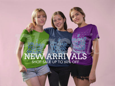 Facebook Ad - Three Girls Wearing T-Shirts a16275