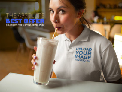 Facebook Ad - Girl Drinking a Milkshake Wearing a Polo Shirt 15417