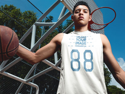 Basketball Jersey Maker - Young Teen Wearing a Jersey While Playing Basketball Outdoors a16502