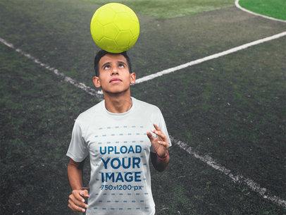 Custom Soccer Jerseys - Teen with Ball in Head