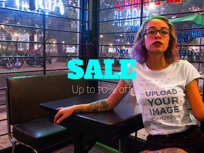 Facebook Ad - Hispanic Trendy Woman Wearing a T-Shirt Inside a Restaurant a16416