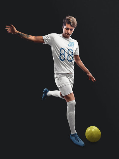 Custom Soccer Jerseys - Man About to Kick the Ball a16491