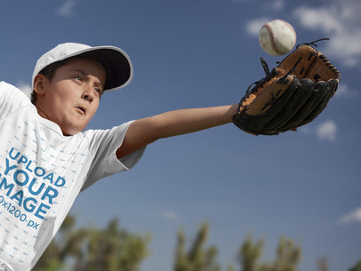 Baseball Uniform Builder - Pitcher Kid Trying to Catch a Ball