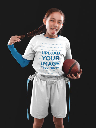 Custom Football Jerseys - Pretty Little Girl Doing Faces a16531