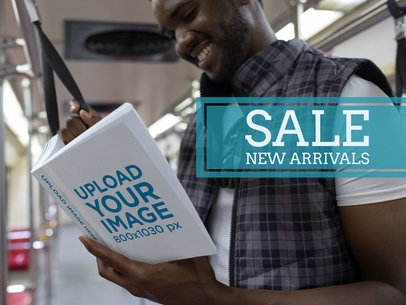 eBook Ads - Smiling Black Man Reading on the Subway a16566