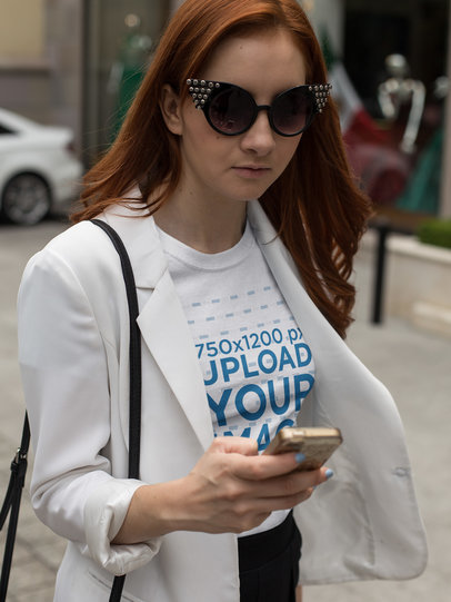 Girl Wearing a T-Shirt Template While Checking her Messages a17257