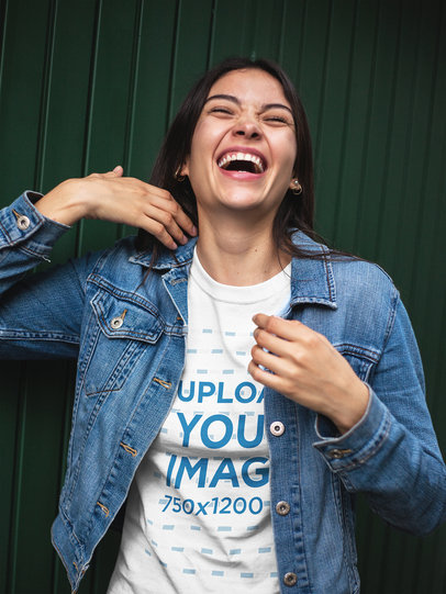 Happy Girl Wearing a T-Shirt Mockup and a Denim Jacket a17461