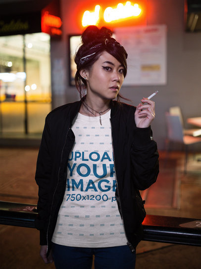 Asian Girl Wearing a T-Shirt Template and a Black Jacket While Smoking at Night a17781