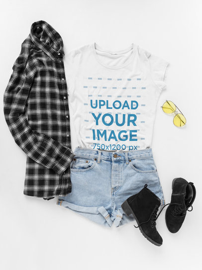 Hipster Outfit with Round Neck Tee Mockup on a White Surface a17957