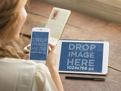 Woman Using iPhone 6 and iPad Mini Mockup Generator