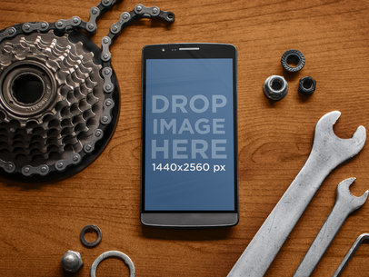 Mockup Template of Android Smartphone at Bike shop