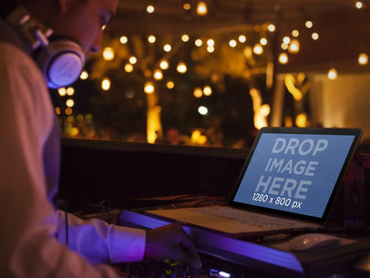 Macbook Pro Mockup Template of DJ at a Party