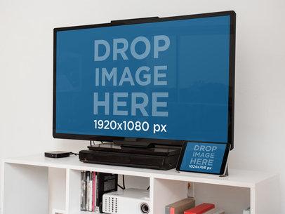 Flat Screen and iPad Mini Mockup at Home a4667