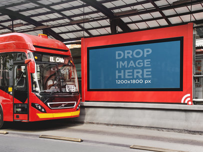 Billboard Mockup at a Bus Station a4581