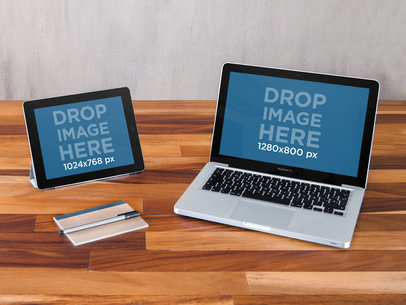 Macbook Pro and iPad Sitting on Top of a Wooden Desk Mockup a5036