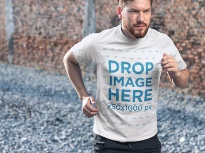 T-Shirt Mockup Featuring an Athletic Handsome Man Jogging  7216a