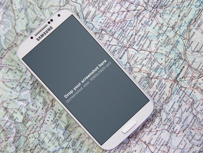 White Samsung Galaxy S4 Over A Map