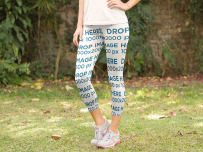Woman Standing in her Backyard Leggings Mockup a8354