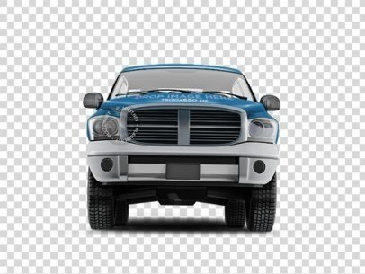 PNG Mockup of a Car Wrap Featuring the Front View of a Pickup Truck 11657