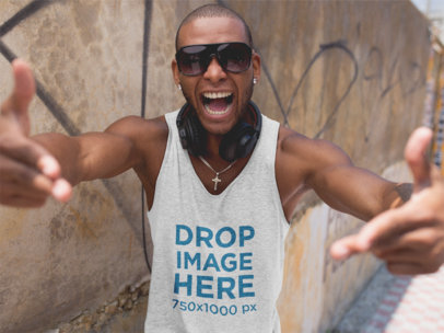 Tank Top Mockup of a Black Man Posing with Sunglasses a11749