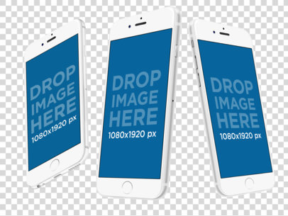 White iPhones Floating in Angled Position Over a PNG Background Mockup a12269