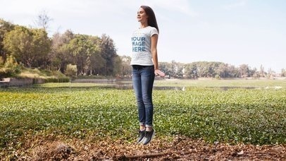 Pretty Girl Jumping in the Nature Stop Motion Video Mockup a13520