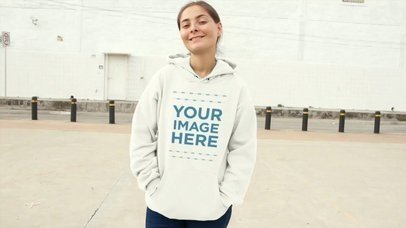 Relaxed Girl Wearing A Pullover Hoodie In Urban Area Mockup Video a13117