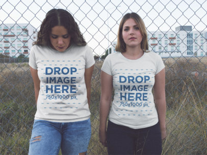 Two Girls Hanging out Outside of the City While Wearing Same T-Shirts Mockup a13340