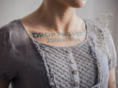 Mockup of a Woman With a Wide Tattoo Below Her Collarbones a14516