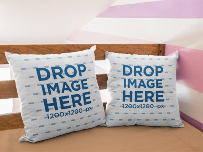 Two Pillows Mockup Standing on a Corner of a Girly Room a14924