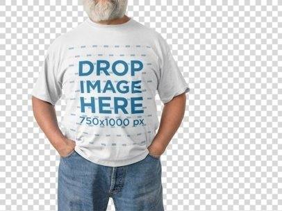 Mockup of an Elder Man Wearing a T-Shirt With Cropped Face Standing on a Transparent Room a15475