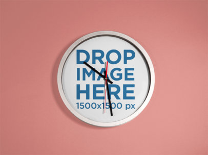 Mockup of a Round Clock on a Solid Color Wall a15233