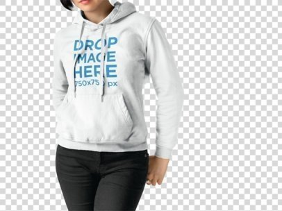 Cropped Face Woman Wearing a Pullover Hoodie Mockup Standing Against a Transparent Surface a15502