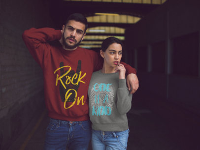 Hispanic Couple Posing for a Picture While Wearing Different Crewneck Sweatshirts Mockup a15568