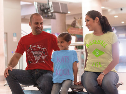 Family of Three Wearing Tshirts Template with Different Designs a15669