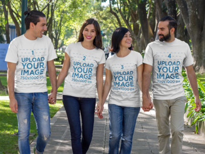 Group of Two Couples Walking and Talking at a Park While Wearing Different T-Shirts Template a15685