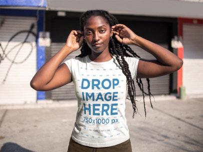 Black Girl Wearing a T-Shirt Mockup While Facing the Sun a15541