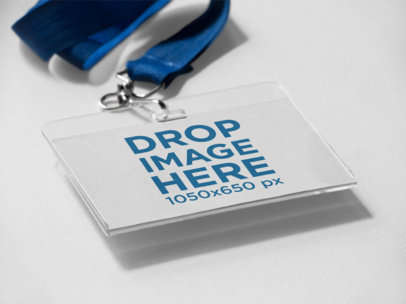 Angled Mockup of a Badge Holder Lying on a Solid Surface with a Holder a15227