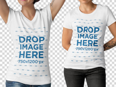 Two Edgy Girls with Cropped Face Wearing a Round Neck and a V-Neck T-Shirts Mockup Against a Transparent Backdrop a15790