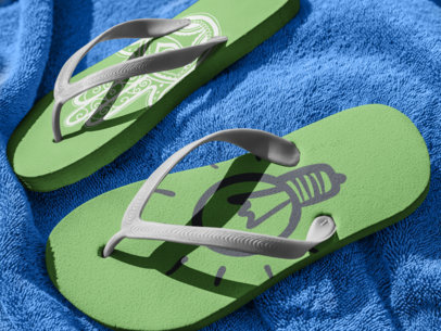 Flip Flops Mockup Lying on a Blue Towel a15439