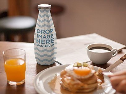 Label Mockup Featuring a Bottle of Milk at a Breakfast Table a7016