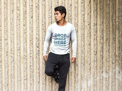 Long Sleeve Tee Mockup of a Man in Sports Clothing a6090