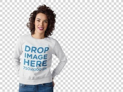 Curly-Haired Beautiful Woman in a Crewneck Mockup a10259