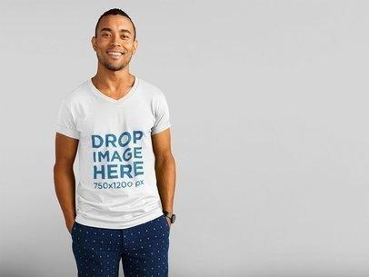 Smiling Black Man in Summer V-Neck T-Shirt Over White Background Mockup a11159