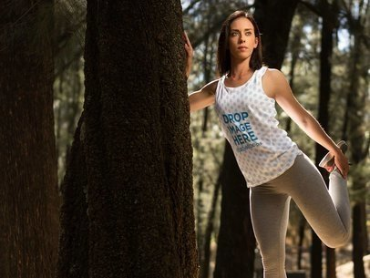 Athletic Tank Top Mockup of a Woman Stretching in the Woods a9474
