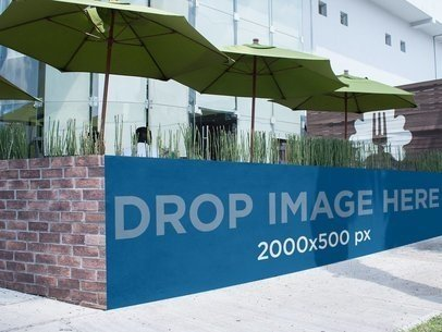 Horizontal Banner Mockup Outside a Restaurant a10858