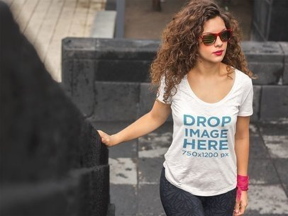 T-Shirt Mockup of a Pretty Woman With Curly Hair a5954