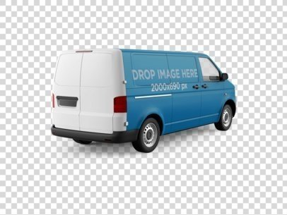 Rear View Car Wrap Mockup of a Van Over a PNG Background 11649